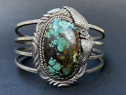 Vintage Native American Silver Turquoise Cuff Navajo Bracelet Signed