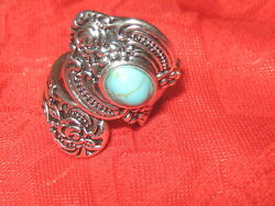 Vintage Antique Style Silver Plated TURQUOISE Spoon Ring SIZES 6 10 ADJUSTABLE $12.00