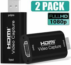 2 PACK Audio Video Capture Cards 1080P 30HZ HDMI to USB 2.0 Game Live Streaming $16.85