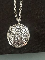 LOIS HILL-CLASSIC GRANULATED W SIGNATURE SCROLL-ALHAMBRA-PENDANT NECKLACE-NEW