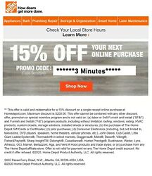 ONE 1X-Home Depot 15% OFF Online 1Coupon Save up to $200 EXP 831 FAST_SENT $9.49