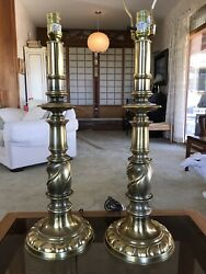 Stiffel Brass Lamp PAIR Hollywood Regency Style Vintage $120.00