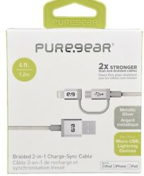 PureGear 4 Ft. Braided 2 in 1 Charge Sync Cable for Micro USB amp; Lightning Device $8.75