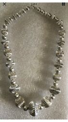 Vintage Native American Navajo Sterling Silver Hand Made Bead Necklace