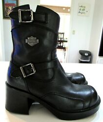 Women#x27;s Harley Boots Double Buckle Side Zip Style Gypsy Black Boot 85303 SZ 6 $59.99