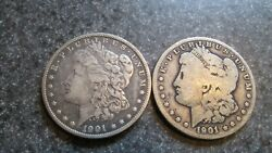 2- 1901'o  MORGAN SILVER DOLLARS in VERY NICE GOOD to VERY FINE cond. NICE DATE