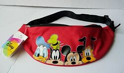 Disney 4 Faces Mickey Mouse Donald Goofy amp; Pluto Red Belly Bag Fanny Pack $12.95