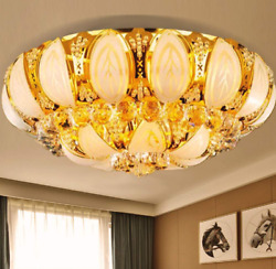 Luxury Crystal Chandeliers Modern Flush Mount Ceiling Light Remote Pendant Lamp $128.69