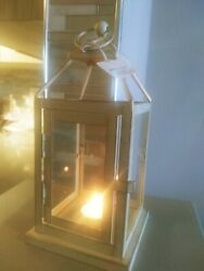 NWT⭐Pier 1 Distressed WHITE Metal amp; Glass Rustic Lantern Lamp Candle Holder 10quot; $31.50