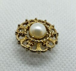 1 CC Chanel gold with pearl stamped button 20 mm vintage classy button $15.99