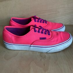 Vans Off The Wall Women#x27;s Size 8.5 Neon Pink Purple Lace Up Sneakers $34.99