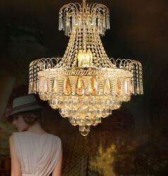 Gold Luxury Crystal Chandelier Home Lighting Ceiling Fixtures Decor Pendant Lamp $168.32