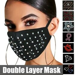 Luxury Rhinestone Crystal Sequin Bling Fashion Reusable Washable Face Mask Cover $4.99