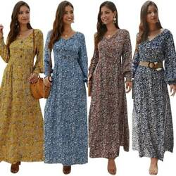 Women#x27;s V Neck Long Sleeve Floral Maxi Dress Casual Party Cocktail Swing Dresses $18.04