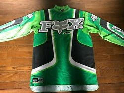 Vintage FOX Motocross Jersey Size S Green For Kawasaki Rider Used 80s 90s $88.00