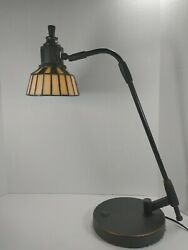 20quot; tall Tiffany Style Stained Glass Desk Lamp office student banker desk $59.49