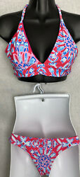 Cupshe Bikini Swimsuit Size Medium Lined Bathing Suit Padded Halter Top $14.99