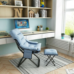 Folding Chaise Lounge Chair Sofa Daybed Sleeper Lounger Bedroom With Bench Blue $92.88