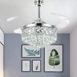 Silver 42quot; Crystal Ceiling Fan Chandelier Remote Retractable Blades w Led Light $178.69