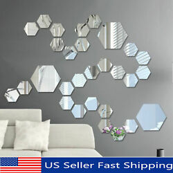 48PCS 3D Hexagon Mirror Wall Stickers Self Adhesive Removable Home DIY Decor $16.99