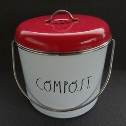 Rae Dunn COMPOST Tin Bin Lid Filter White Red Country Metal Canister Large Waste $20.99