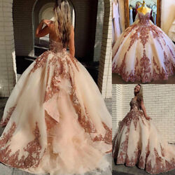 Organza Sweet 16 Quinceanera Dresses Sequined Applique Beaded Sweetheart Party $152.99