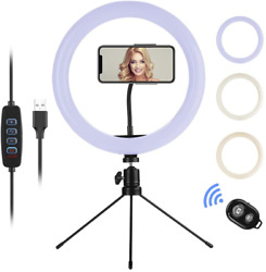 Selfie Ring Light with Stand and Phone Holder10.2quot; Desk Dimmable LED Circle Lig $24.99