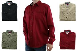 Wrangler Premium Comfort FLEX Men#x27;s Shirt Long Sleeve Twill Denim Button Down $17.99