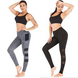 Women Sports Compression Fitness Leggings Gym High Waist Yoga Pants With Pockets $10.68