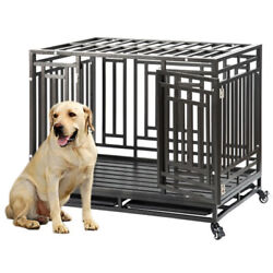 41quot; Heavy Duty Dog Cage Pet Crates with Wheels Removable Tray Steel Dog USA $209.00