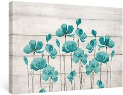 Teal Floral Wall Art Framed Bedroom Decor Farmhouse Canvas Painting 16x24in $42.99