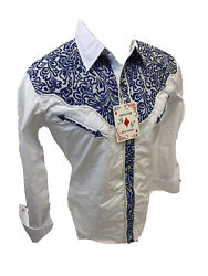 Men RODEO WESTERN COUNTRY WHITE BLUE STITCH TRIBAL SNAP UP Shirt Cowboy 05585 $27.99