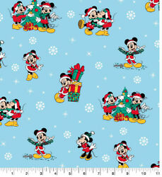 """DISNEY MICKEY AND FRIENDS Christmas Day Cotton Fabric Fat Quarter 18""""x22"""" $6.45"""