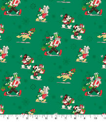 """DISNEY MICKEY AND FRIENDS PRESENTS Christmas Cotton Fabric Fat Quarter 18""""x22"""" $6.95"""