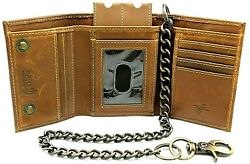 RFID Safe Vintage Brown Leather Biker Trifold Chain Wallet without Chain Trucker $24.99