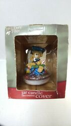 HOLIDAY TIME JAR CANDLE DECORATIVE COVER CHRISTMAS Teddy Bear NEW IN PACKAGE $14.99