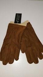 BLOOMINGDALE#x27;S MEN#x27;S GLOVES LEATHER BROWN KNIT MEDIUM NEW $39.99