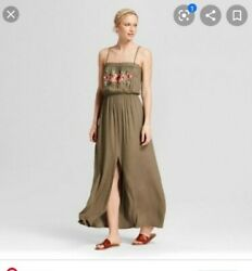 NWT Womens Xhilaration Floral Flowy Olive Tree Green Long Maxi Dress XXL $24.99