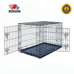 30quot; Dog Crate Kennel Folding Pet Cage Metal 2Door With Tray Black $35.14
