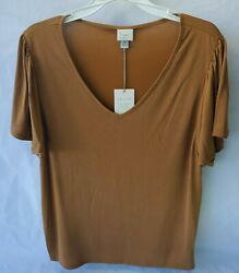 NWT Target quot;A New Dayquot; Women#x27;s Short Sleeve V neck Top Size LG Rust $8.99