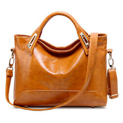 Oil Wax Leather Tote Purse Leather Satchel Handbag Messenger Shoulder Bag Women $21.99