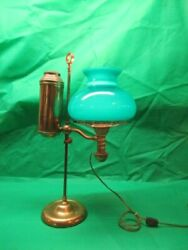 Antique Student Oil Lamp Electrified Green Shade $285.00