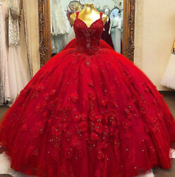 Red Quinceanera Ball Gown Dresses 3D Floral Flowers Sweet 16 Dress Puffy Party $143.99