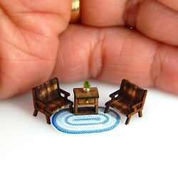 1 144th Scale Dollhouse Miniature Rustic Living Room Set of 4 Furniture So Tiny $23.50