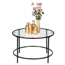 Home 2 Layers Round Iron Coffee Table Room Tempered Glass Countertops Black US $63.99
