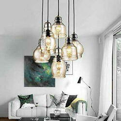 6 Light Antique Chandeliers Cognac Glass Pendant Lamps Home Lighting Fixtures $118.99