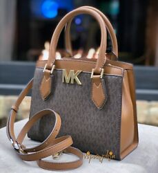 MICHAEL KORS MOTT MEDIUM MESSENGER MK SIGNATURE PVC LEATHER SATCHEL BAG BROWN $98.80