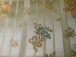Antique Vintage French Lisere Floral Silk Brocade Fabric Gray Blue Gold $44.99
