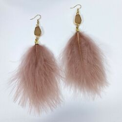 Boho Pink Color Druzy Design Dangle Pink Tone Feather Long Drop Hook Earrings $7.99