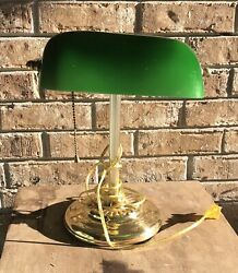 Vintage Brass Style Piano Bankers Desk Lamp Green Glass Shade Art Deco $21.30
